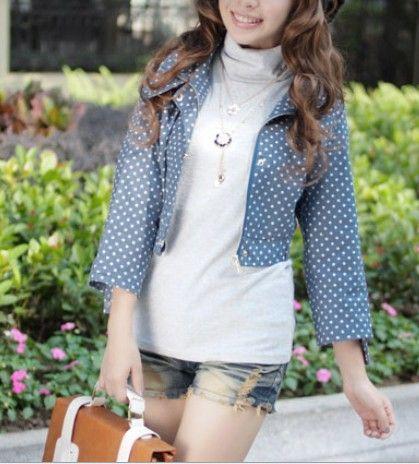 Japan Style Krotka Kurteczka Kurtka W Groszki Nieb 2768229363 Oficjalne Archiwum Allegro Jackets Fashion Vest