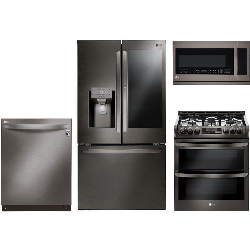 Lg 4 Piece Kitchen Appliance Package With Gas Range Black