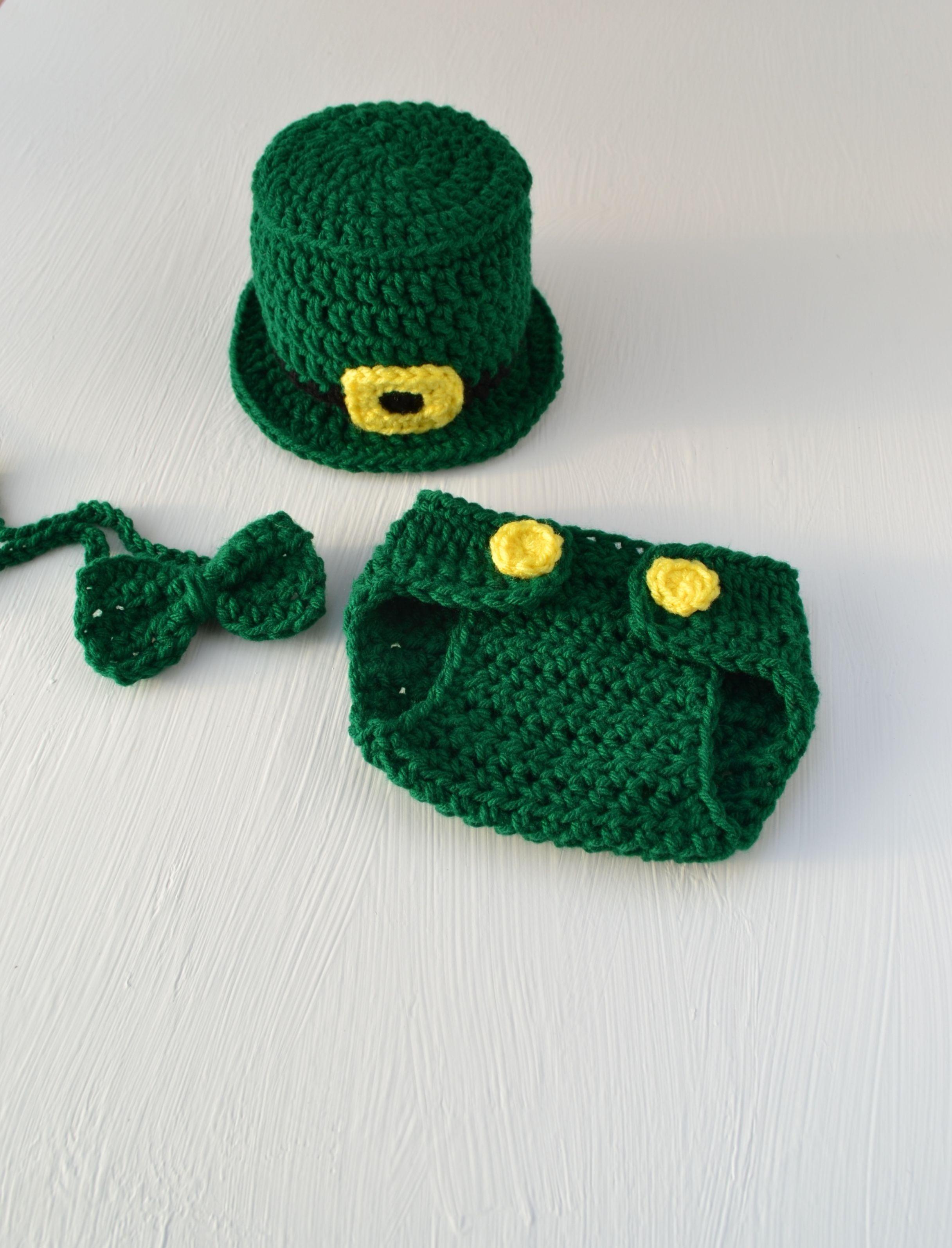 e93601a15 Crochet Baby St Patrick's Day Outfit Crochet Leprechaun Hat Diaper ...