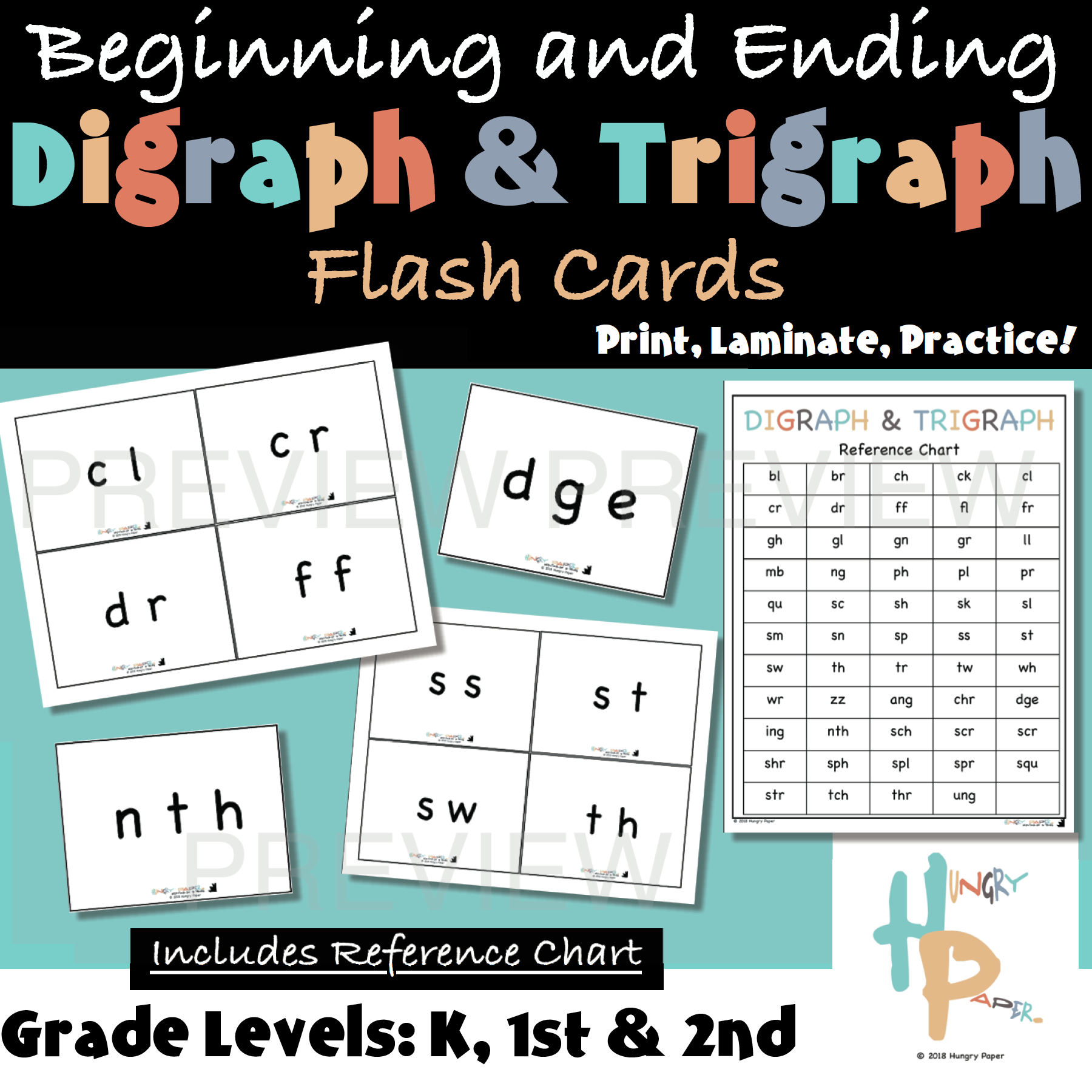Beginning And Ending Digraph Amp Trigraph Flash Cards With