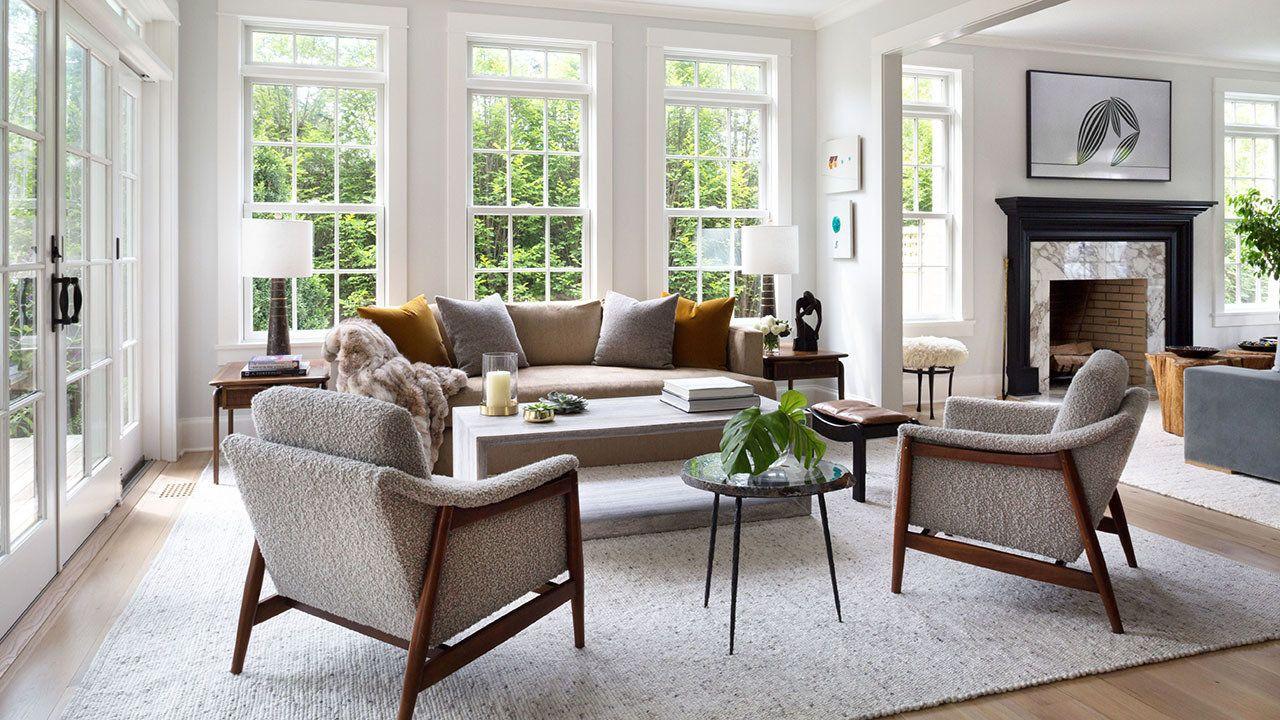 Designed by Babcock Peffer, this greybeige living room