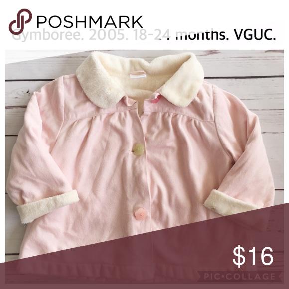 5c3d2e18996d Gymboree girls coat faux fur suede pink buttons Light pink girls ...
