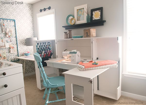 Sewing desk on pinterest sewing room furniture sewing Sewing room ideas for small spaces