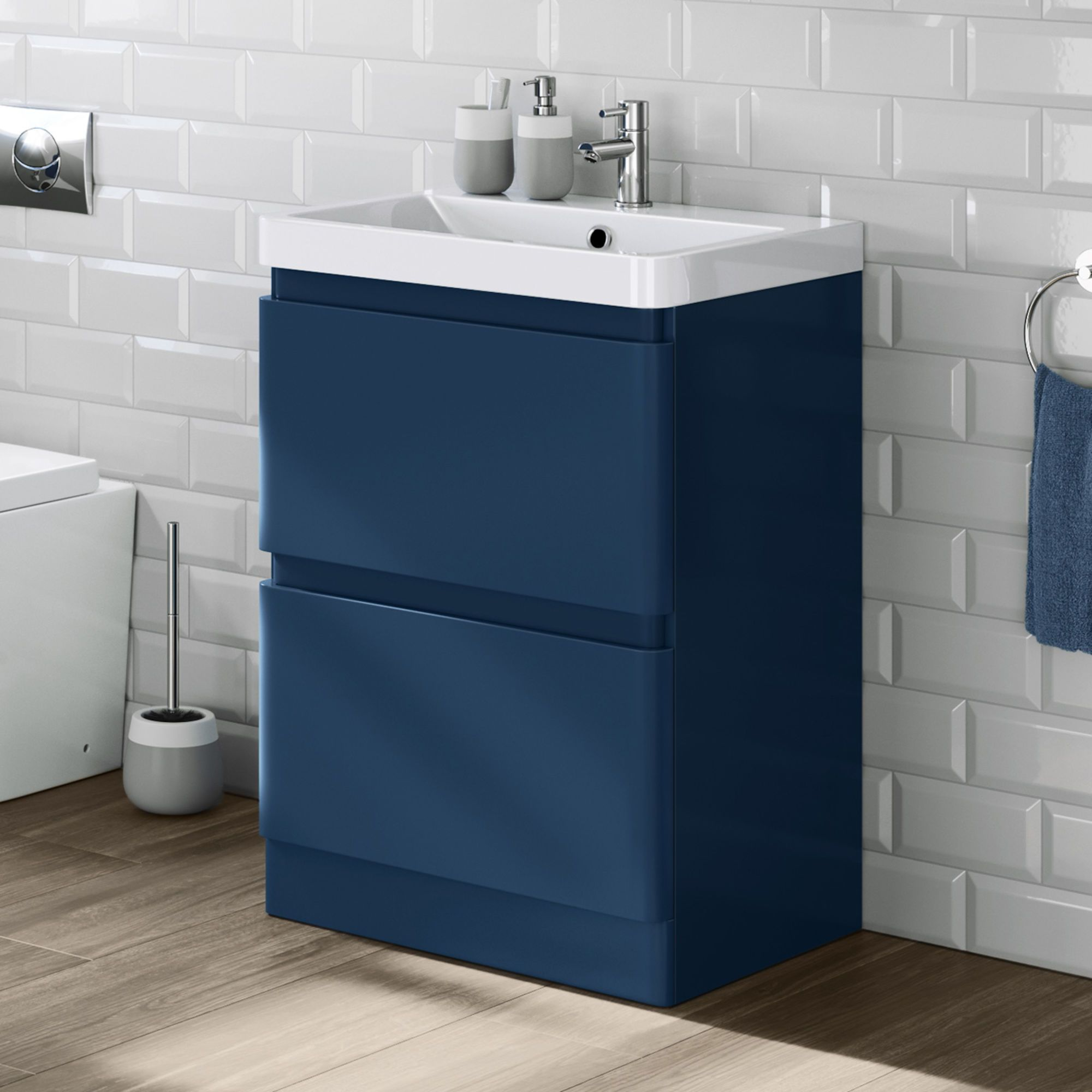 600mm Denver Matte Blue Built In Basin Drawer Unit Floor