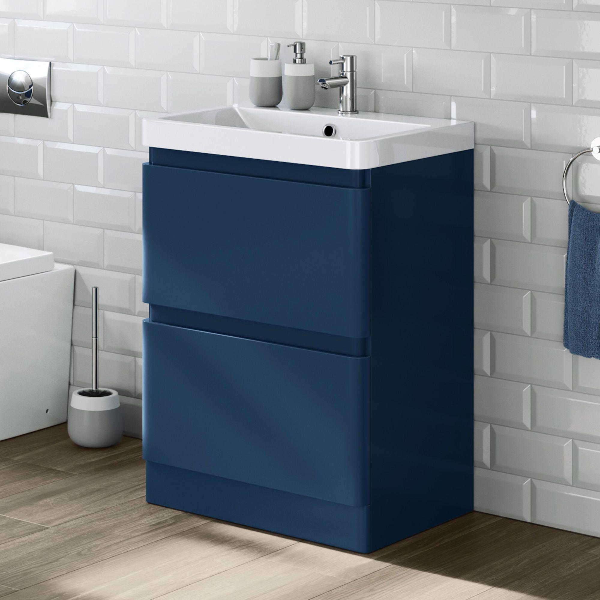 600mm Denver Matte Blue Built In Basin Drawer Unit Floor Standing Soak Com Vanity Units Blue Bathroom Vanity Blue Vanity
