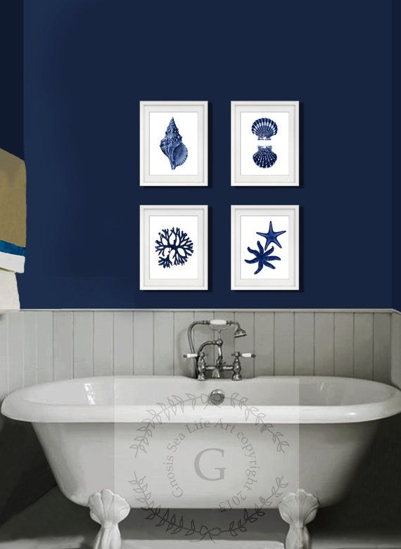 Coastal Wall Decor Navy Blue Sea Shells Starfish Set Of 4 Etsy Navy Blue Wall Art Beach House Wall Decor Blue Bathroom Walls