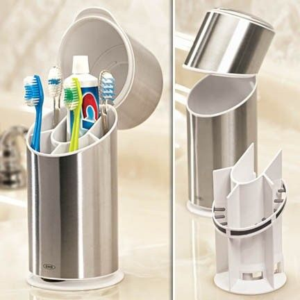 Elegant This Stainless Steel Toothbrush Holder Offers A Stylish And Sanitary Way To  Keep Brushing Needs Organized. Browse Our Other Organization U0026 Storage  Products ...