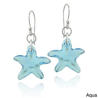 Crystal Ice Sterling Silver Starfish Crystal Dangle Earrings