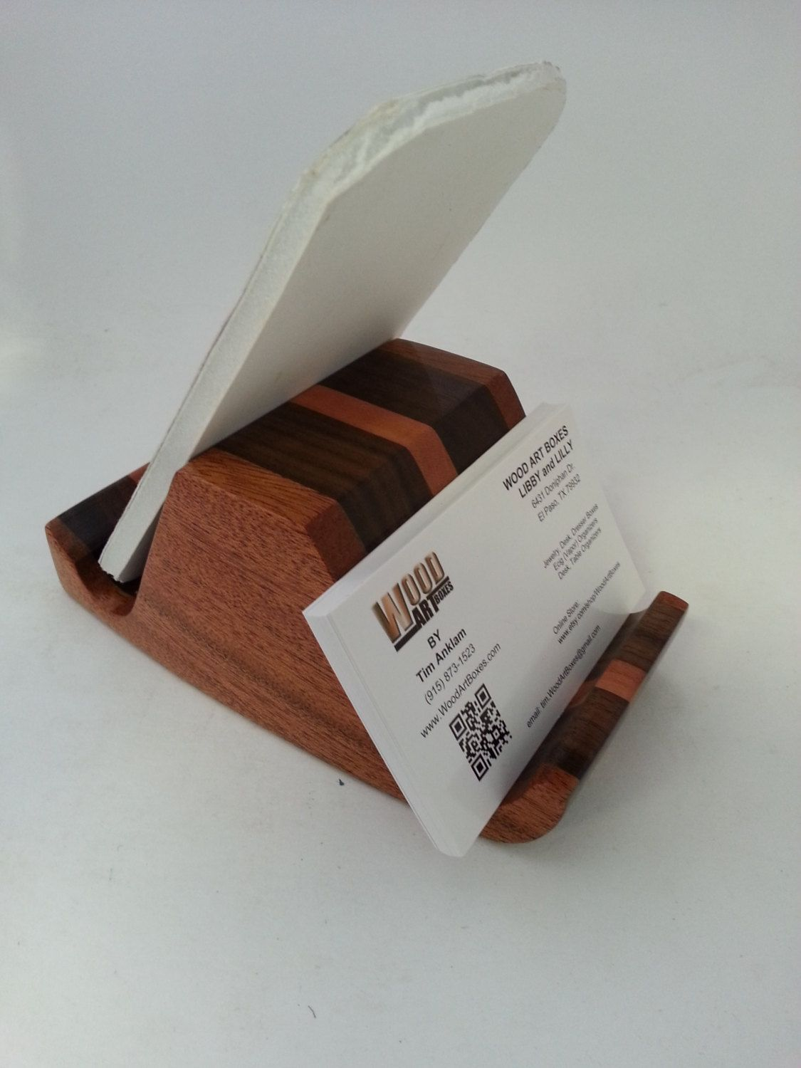 Smart Phone Business Card Holder Desk Accessory Organizer Wood ...