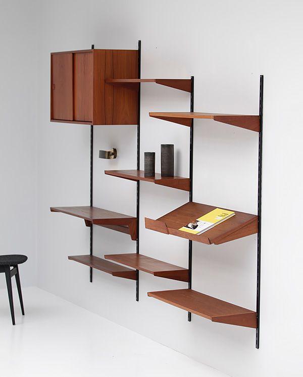 Teak Wall Unit By Kai Kristiansen Teak Wall Wall Unit Scandinavian Office Furniture