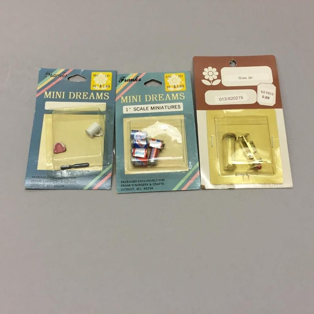 Franks Nursery Crafts Dollhouse Miniatures Soda Cans False Teeth Medical Jars Ebay