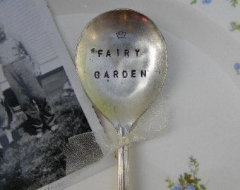 Fairy Garden with Crown Vintage Hand Stamped Spoon.