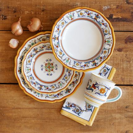 16-Piece Deruta-Style Dinnerware Set $259.95 & 16-Piece Deruta-Style Dinnerware Set $259.95 | Fashion Items I love ...