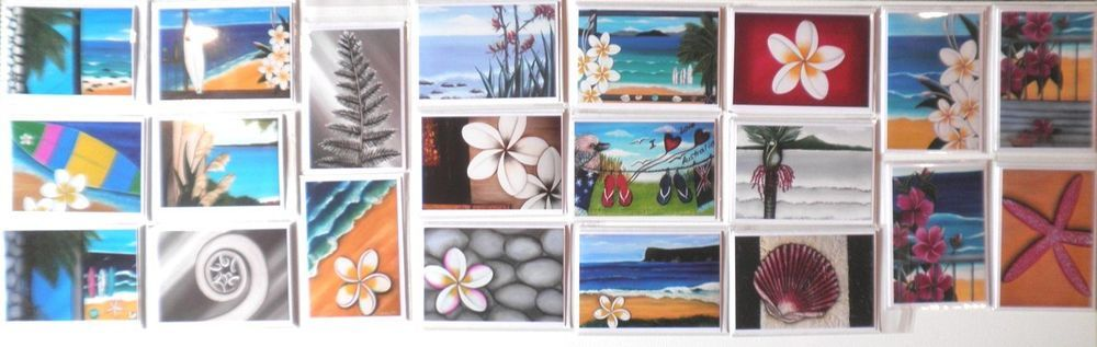 Surf_Palm_Hibiscus_Plumeria_Frangipani_Beach_ 20 Greeting Cards - Art by Astrid Sea, Surf & Beach Greetings Cards. Feel free to check them out. :)