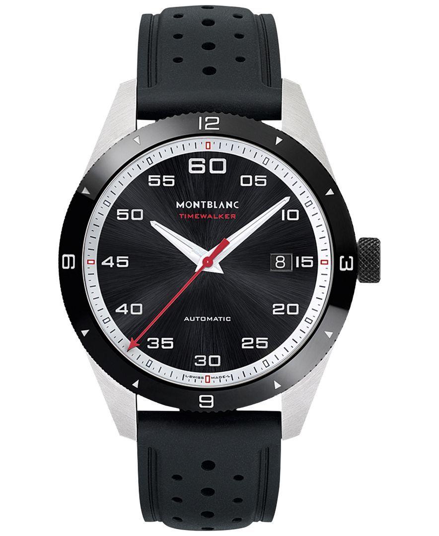 843c75047ef Montblanc Men s Swiss Timewalker Date Automatic Black Rubber Strap Watch  41mm
