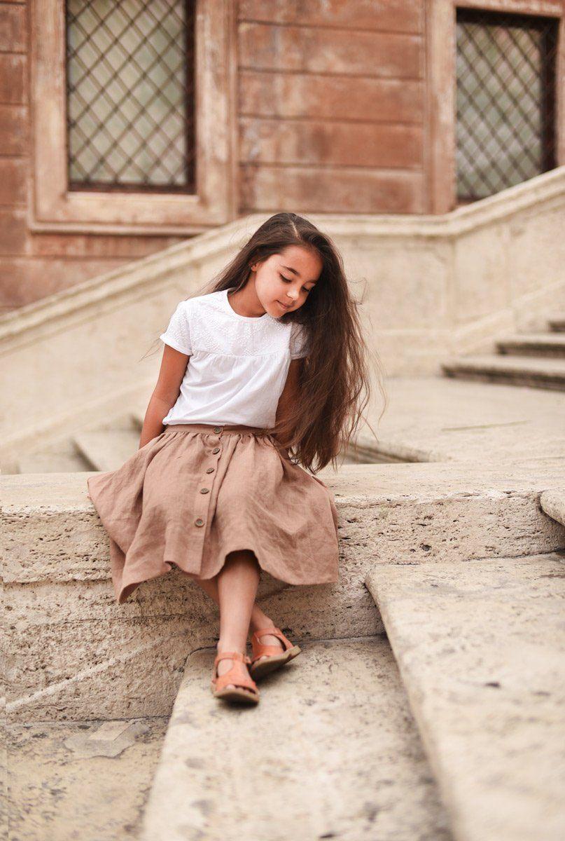 Blue linen skirt for girl,Twirl linen skirt,Natural linen skirt for school,Skirt with buttons,Casual skirt,Loose skirt,Holiday skirt,Elegant