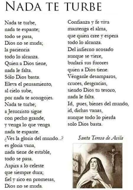 Nada Te Turbe Salmos Dios Santa Teresa Y Santa Teresa De Jesus