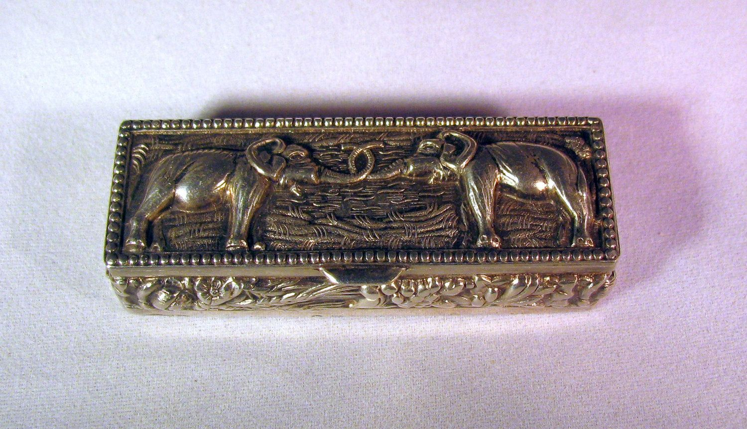 Intricate Vintage Silver Plate over Copper Repousse Pill