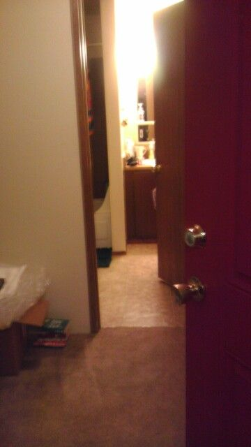 Thru my front door - straight ahead is the bathroom