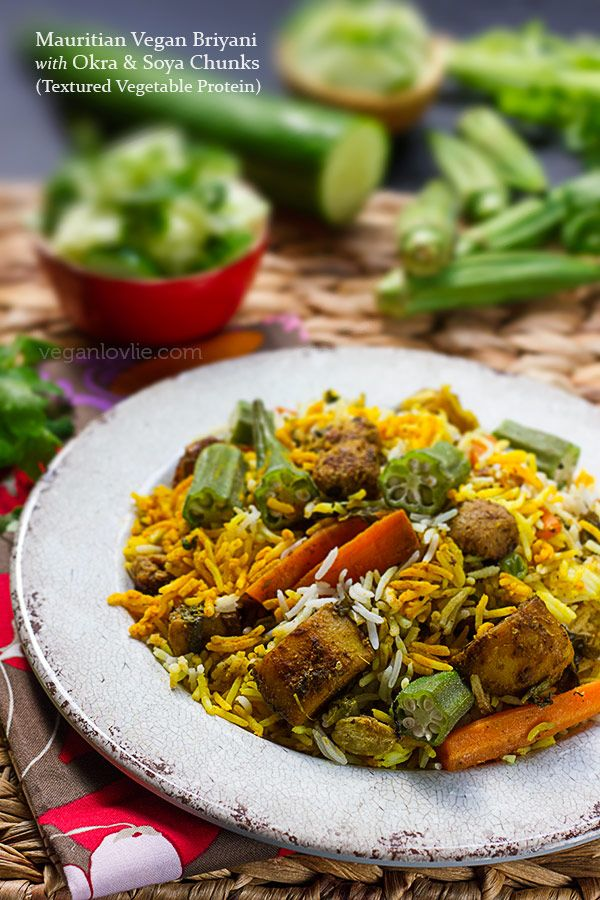 Mauritian Vegan Briyani With Okra And Soya Chunks Textured