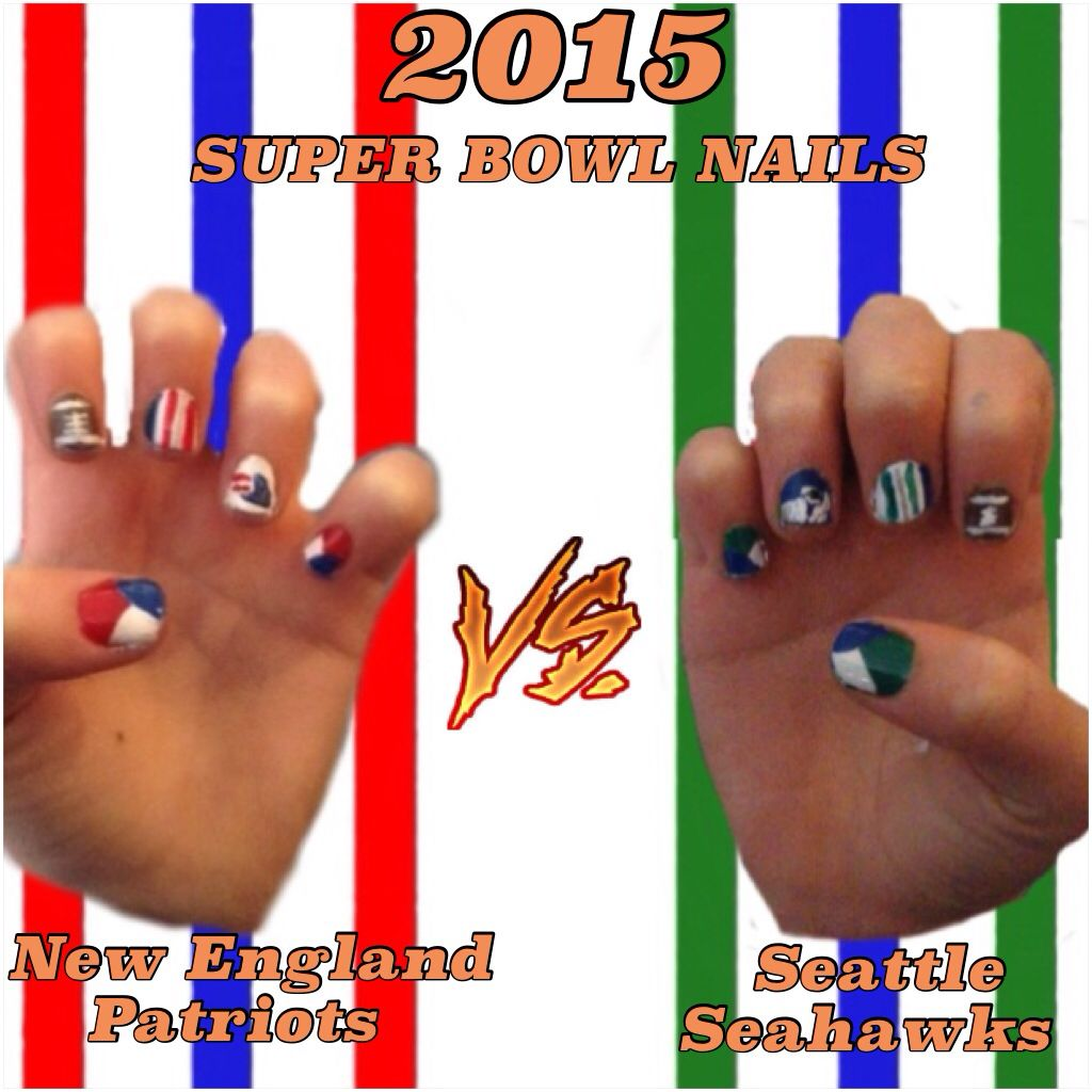 New England Patriots-red, white, blue, brown, silver nail polish ...