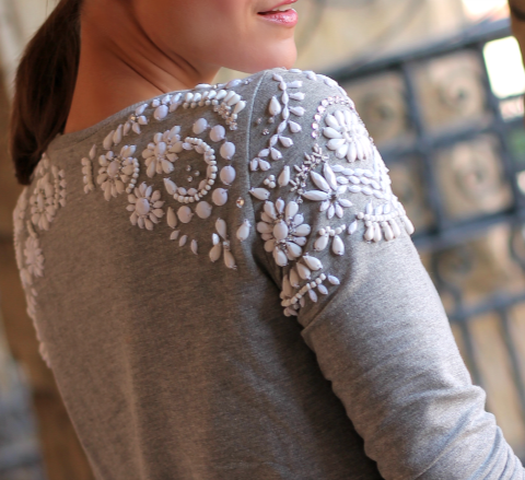 7226d251f6 Bejeweled shoulders  could have a similar effect with lace.