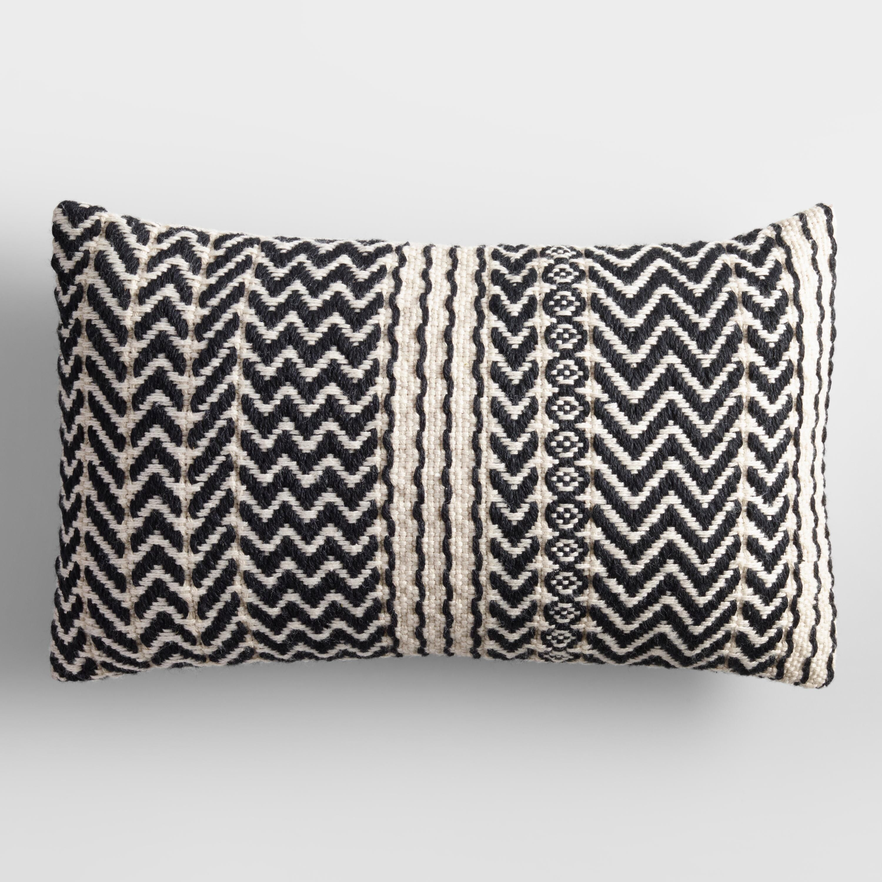 Black And Ivory Zigzag Woven Indoor Outdoor Lumbar Pillow Outdoor Throw Pillows Lumbar Pillow Outdoor Pillows