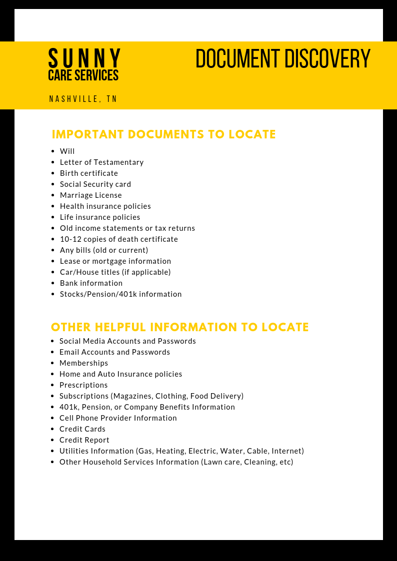 A List Of Documents And Important Information To Locate After A