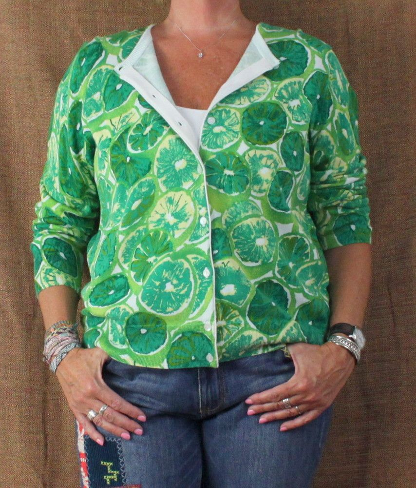 Cute Lands End XL 18 size New Cardigan Sweater Womens Green Yellow ...