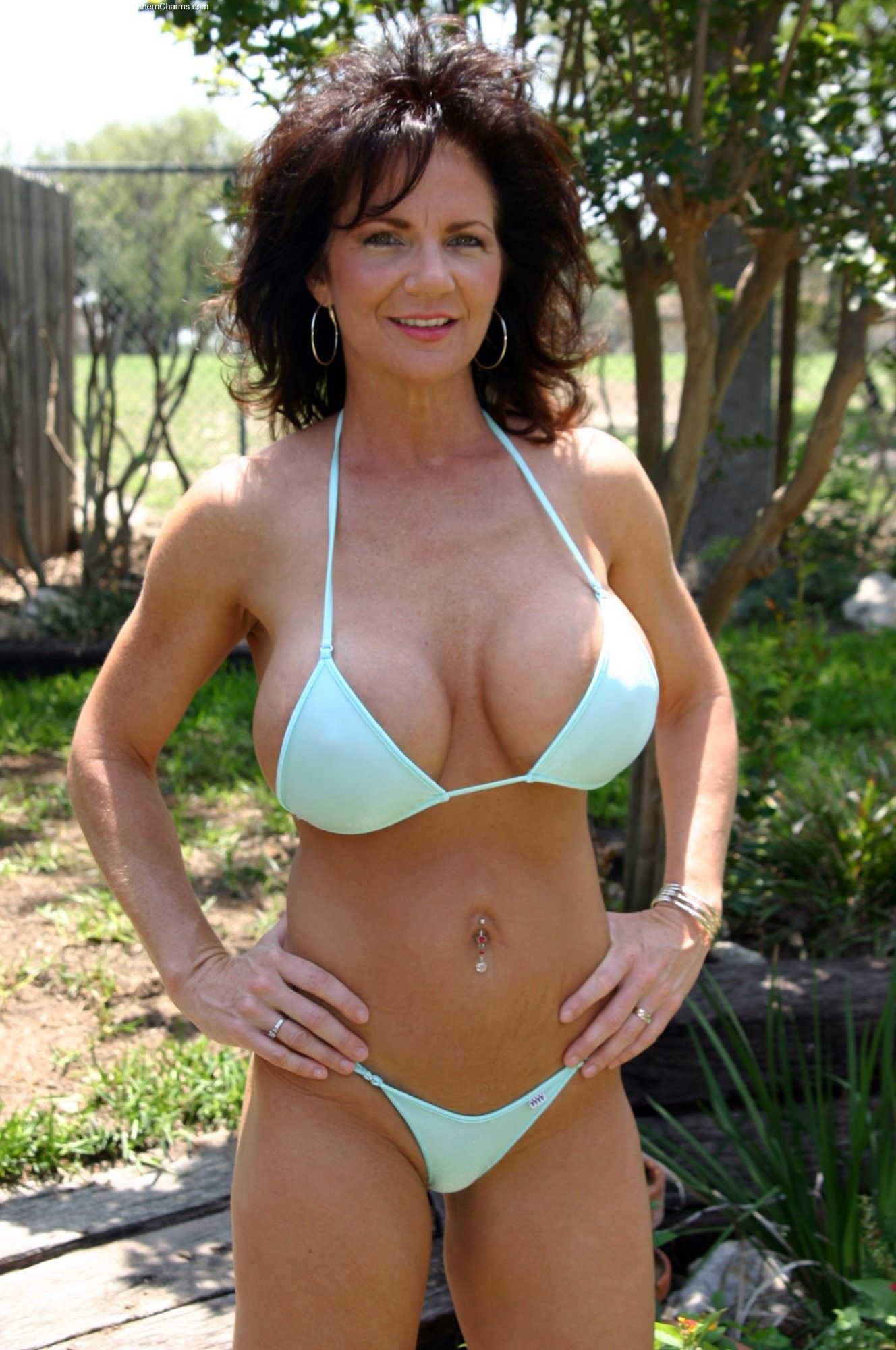 Hot in mature swimsuit woman