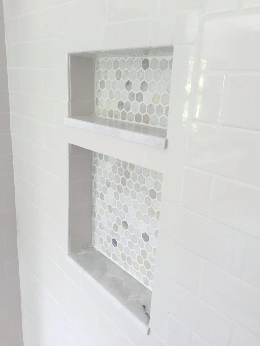 Bathroom: Shower Niche Ideas Bathroom Shower Niche Pictures Marble Hexagon Mosaic #whitesubwaytilebathroom