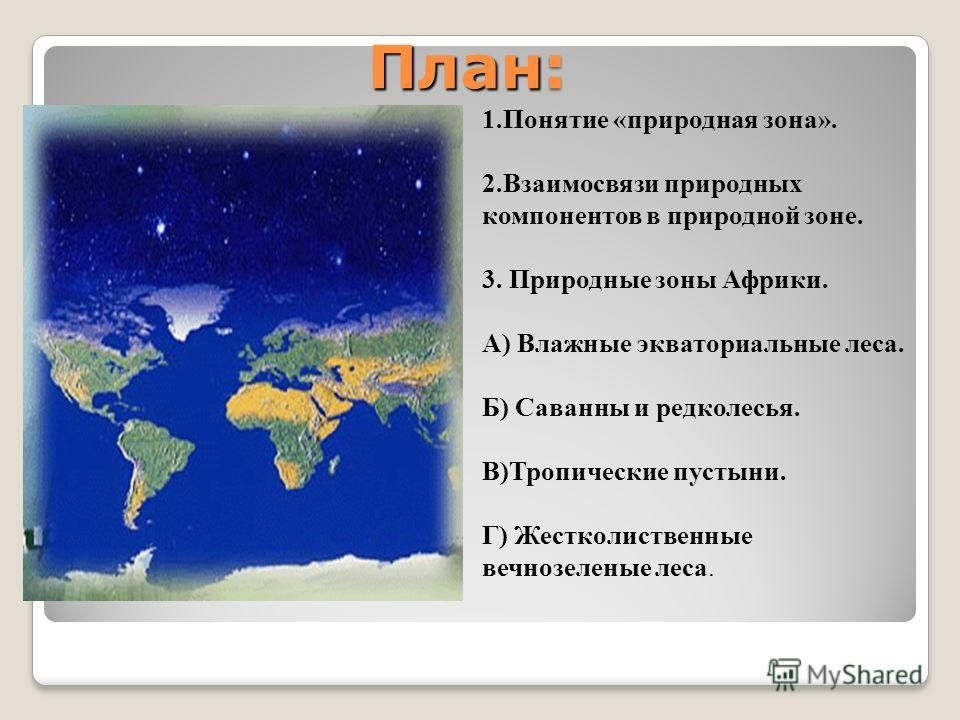 План природной зоны 3 класс