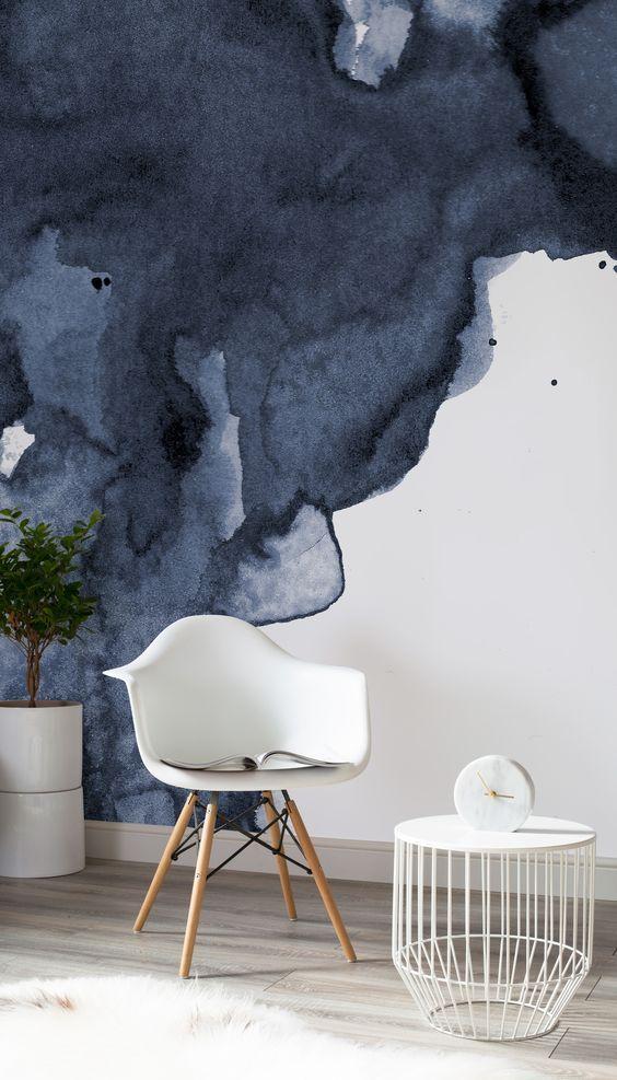 Navy Watercolor Wallpaper Blue Smoke Design Muralswallpaper Interieur Ontwerpers Binnenhuisarchitect