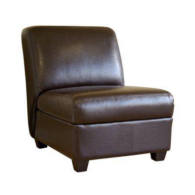 Baxton Studio Fleance Leather Accent Chair Dark Brown