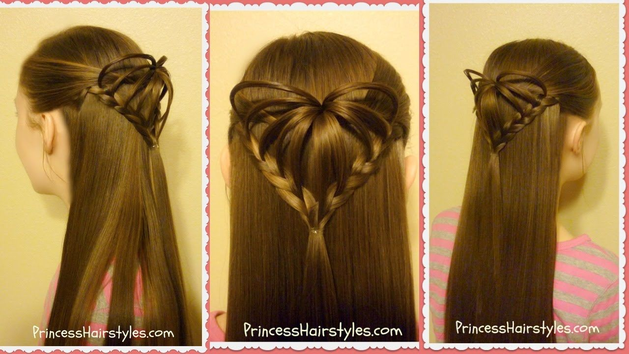 Half Up D Heart Hairstyle Valentines Hairstyles This Will - Hairstyle girl 2017 video