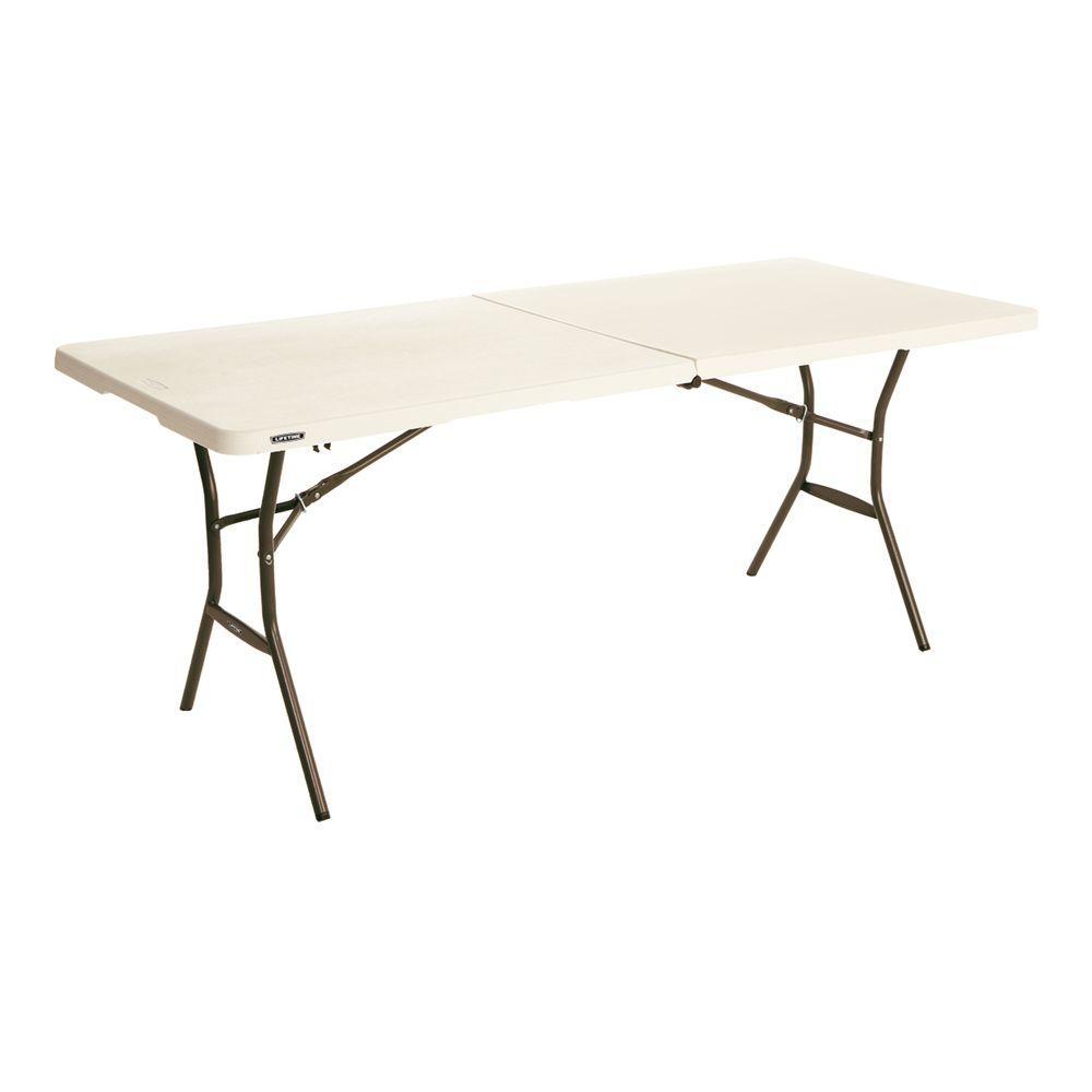 Lifetime 72 In Almond Plastic Portable Folding Utility Table