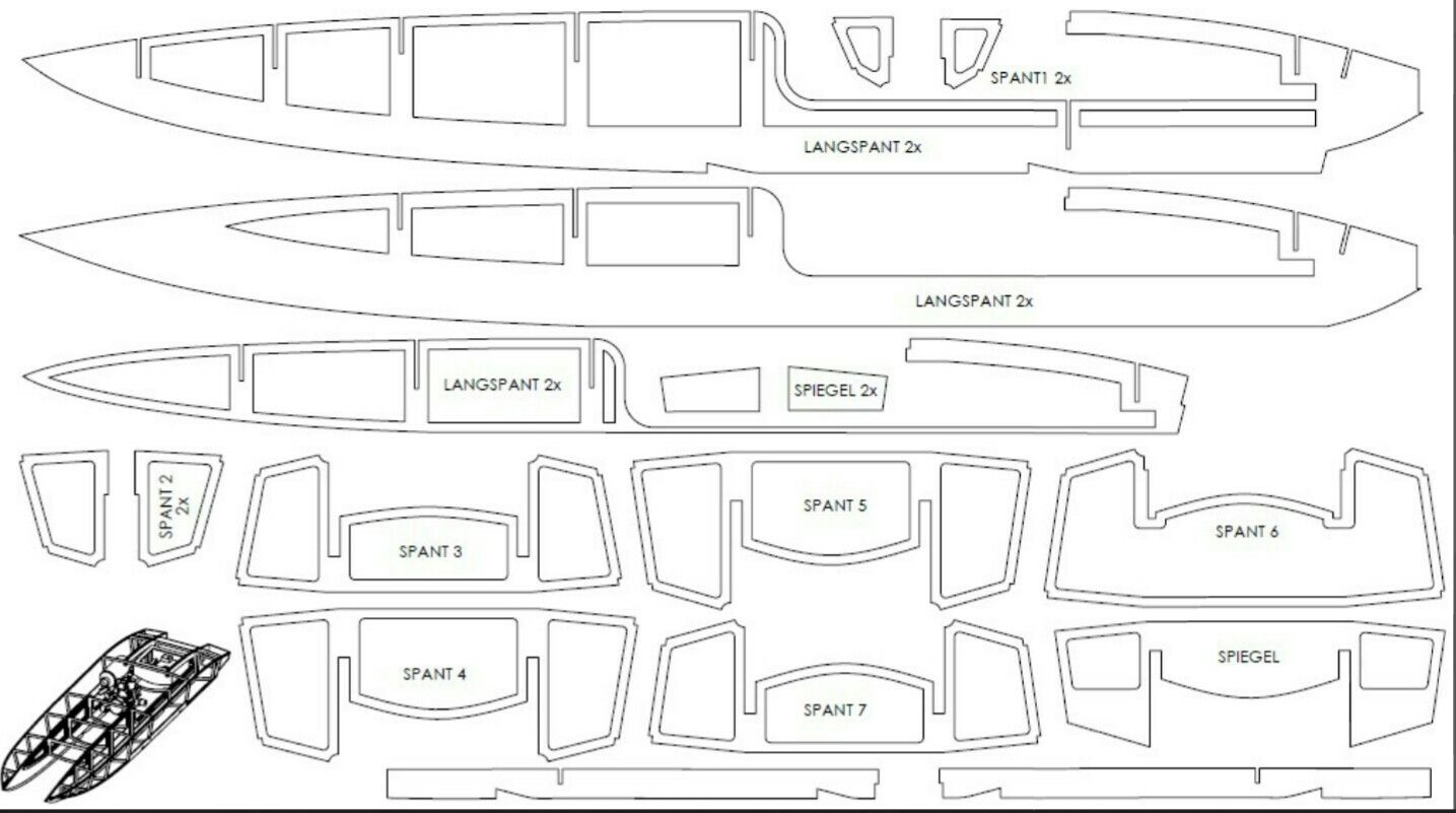 hight resolution of r c catamaran boat parts blueprint