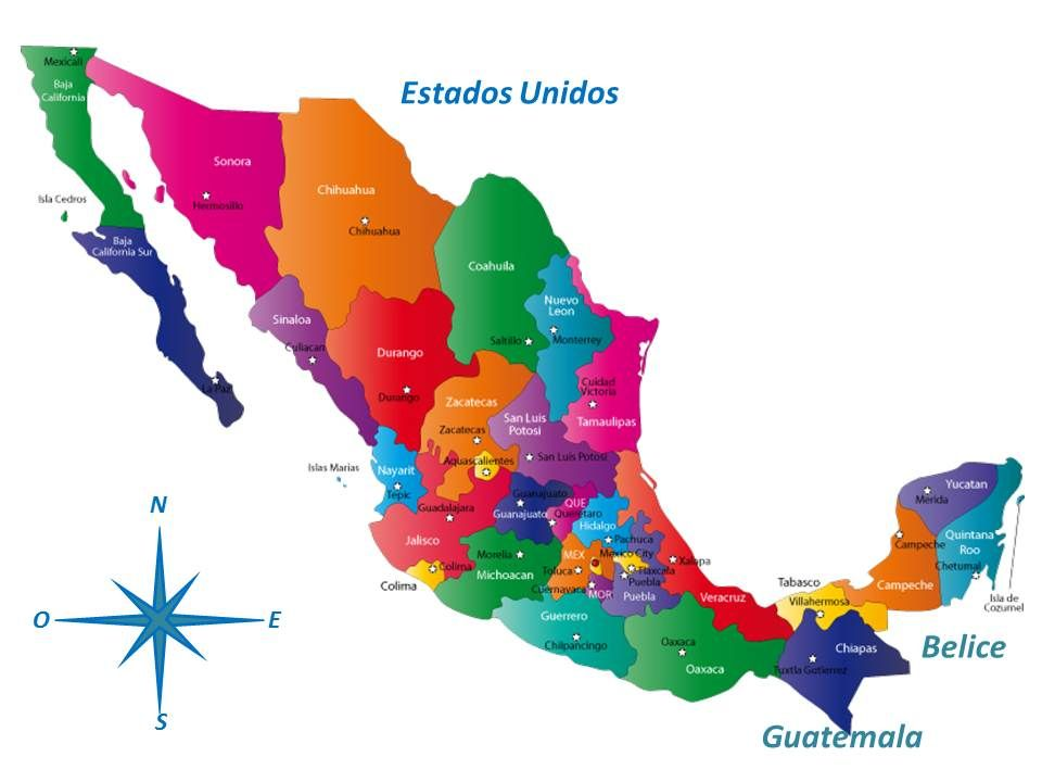 Mexico Estados En 2020 Mapa Mexico Con Nombres Republica