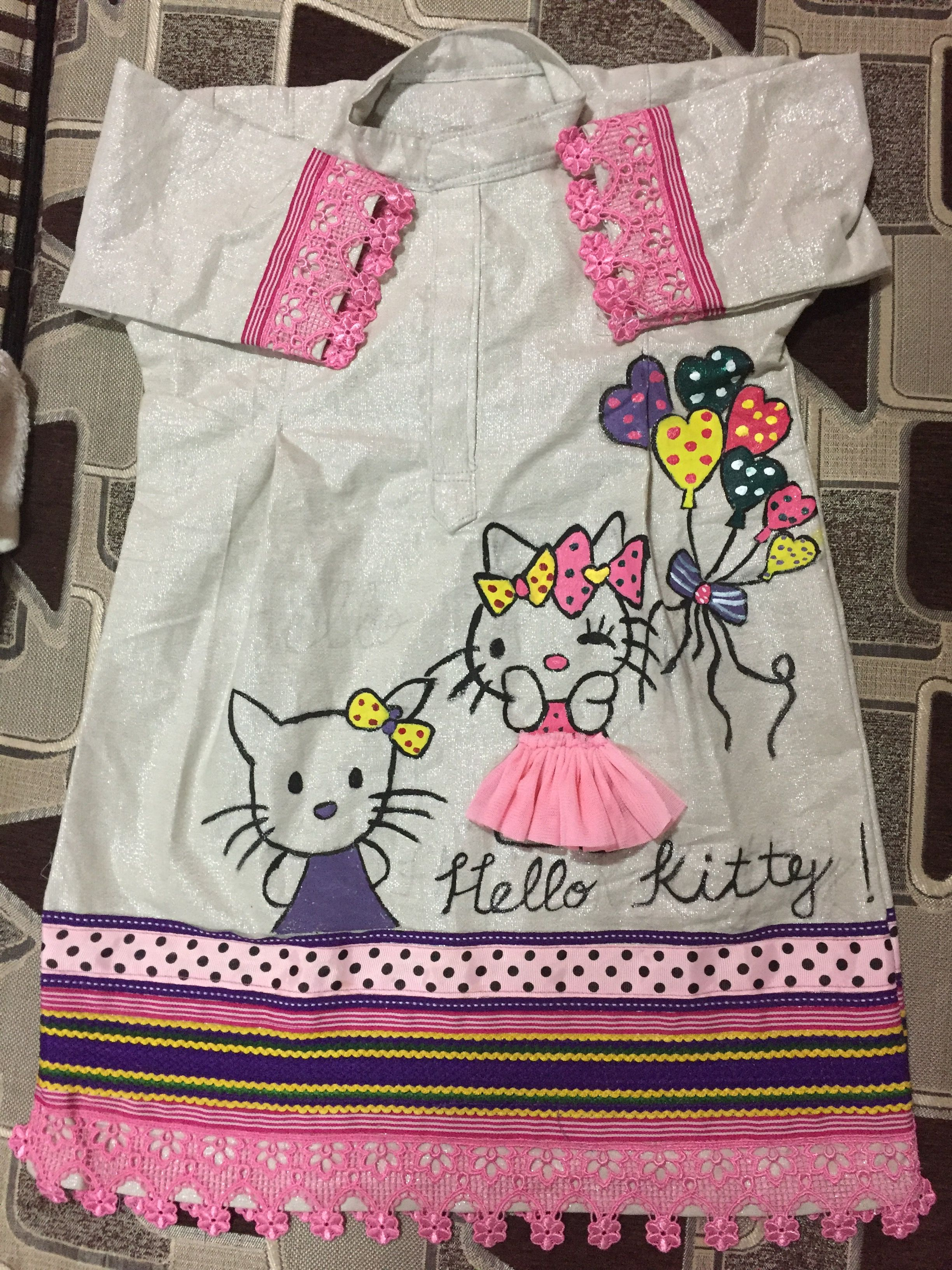 3edd0fa1f Jhabla izar Hello kitty | My creations | Fabric painting, Paint ...