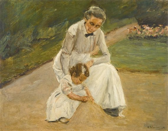 Max Liebermann - The Artist's Granddaughter and her nurse playing in the garden