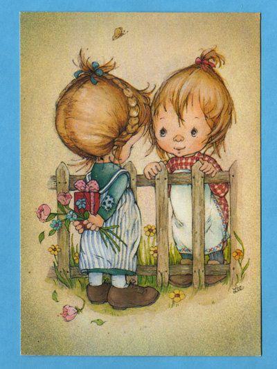Postcard vintage 70s by Lee.  Cute girl brings von bluumievintage, $4.75
