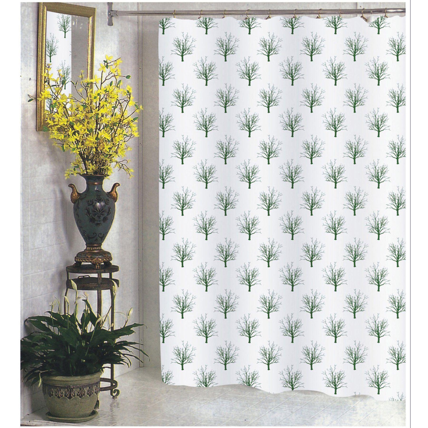 Carnation Home Fashions Faith Tree In Green Fabric Shower Curtain