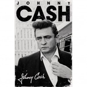 Vintage Distressed Black White Johnny Cash Photo Between Stacked Logo Signature