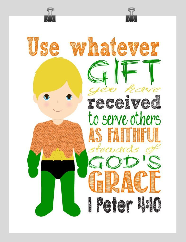 Aquaman Superhero Christian Nursery Decor Print Use Whatever Gift You Have Received 1 Peter 4 10 Superhero Nursery Superhero Nursery Decor Christian Nursery Decor
