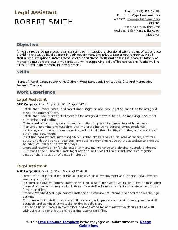 Legal Assistant Resume Samples Qwikresume