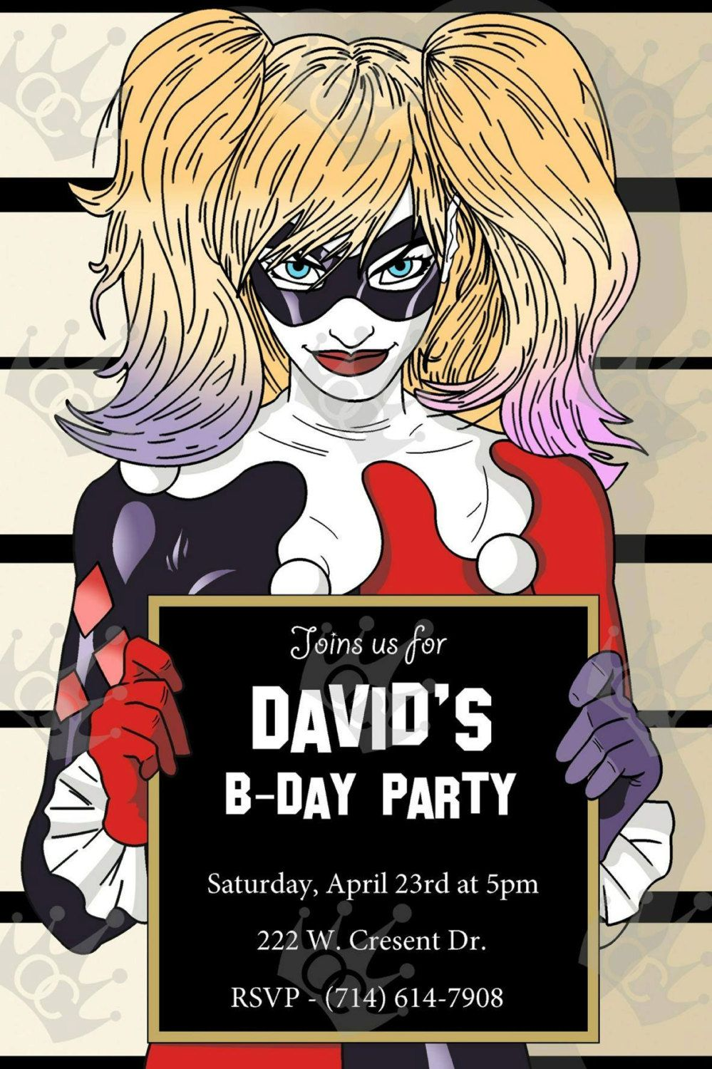 Harley Quinn CUSTOM Digital Printable Birthday Party Invite - Digital birthday invitation template