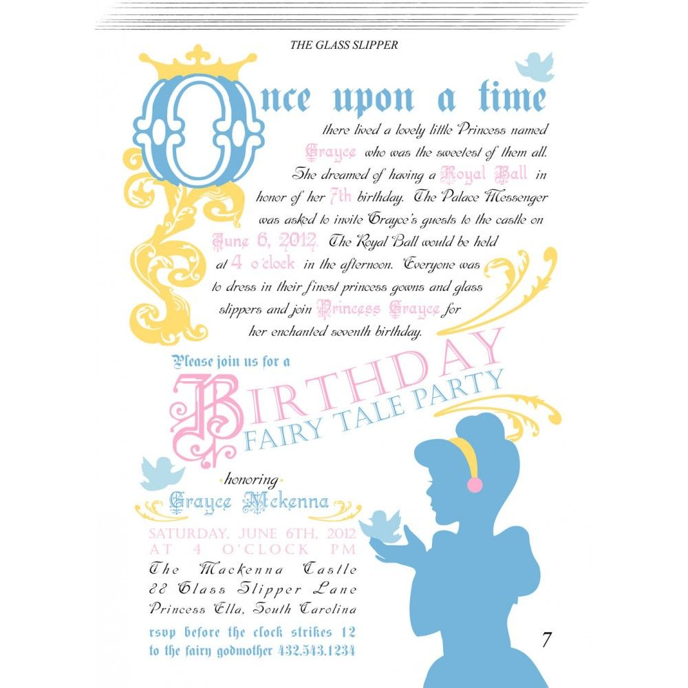 Fairy Tale Princess Printable Invitation   Cinderella Theme ...