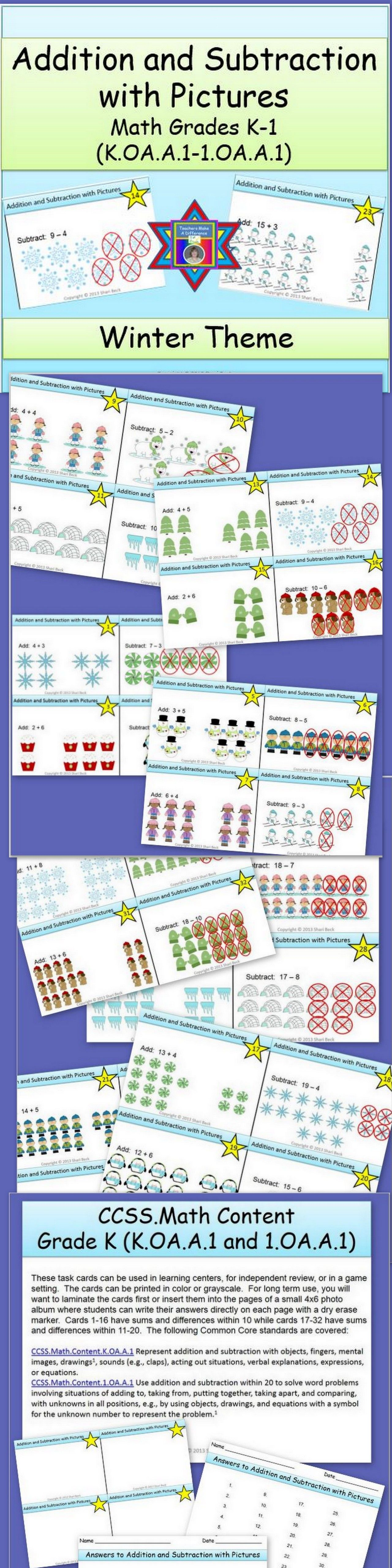 Addition And Subtraction With Pictures Task Cards Winter Theme Elementary Math Centers Addition And Subtraction Free Math Worksheets Addition and subtraction with pictures
