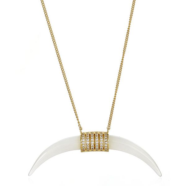 Melanie Auld The Horn Necklace in Metallic Gold K4NQUms
