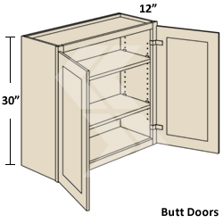 w3630 shaker maple white wall cabinet 2 butt door ready to